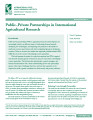 Public–private partnerships in international agricultural research