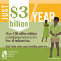 $3 billion per year would allow 100 million children to live free of malnutrition